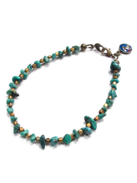 NATURAL STONE FLOWER BRACELET (TURQUOISE) / 天然石&フラワーチャーム ブレスレット