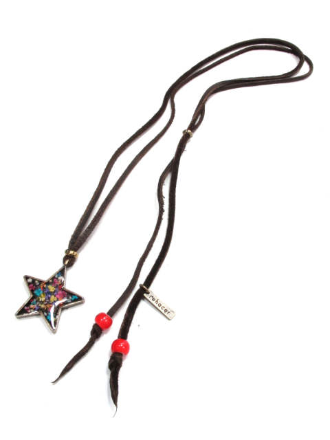 FLOWER TWINKLE COAD NECKLACE (A.GOLD) / フラワースター 革紐ネックレス