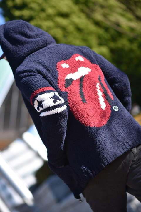 THE ROLLING STONES × MARBLES PILE HOODED JACKET (NAVY)