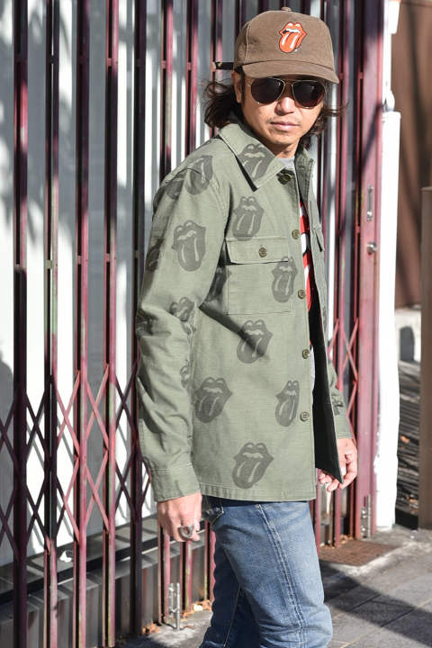 THE ROLLING STONES × MARBLES FATIGUE SHIRT (OLIVE)