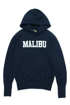 SUEDE FRENCH TERRY PARKA (MALIBU) (NAVY) / スウェードスウェットパーカー (マリブ)