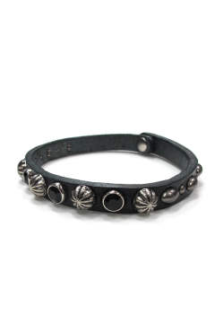 【ラスト1点】×VIN&AGE STUDS LEATHER ANKLET (BLACK)