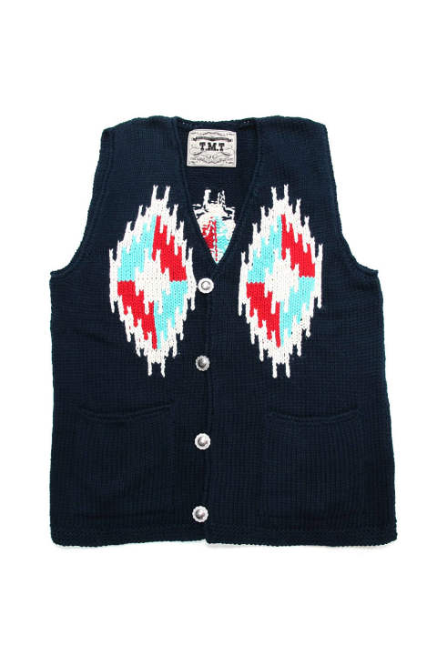 NATIVE PERUVIAN HAND-KNIT VEST (NAVY) / ネイティブ ニットベスト