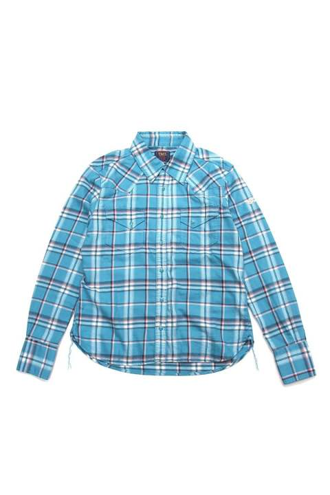 THIN-TWILL CLOTH CHECK SHIRTS (TURQUOISE)