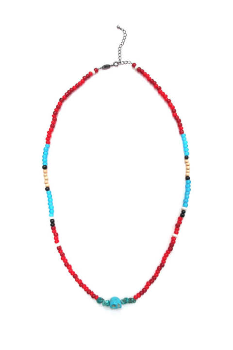 CALAVERA STONE NECKLACE (RED) / ビーズネックレス