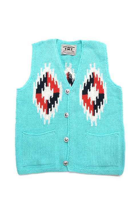 NATIVE PERUVIAN HAND-KNIT VEST (TURQUOISE) / ネイティブ ニットベスト