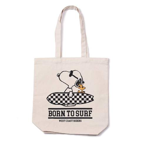 PEANUTS×TMT CANVAS TOTEBAG (BORN TO SURF) (IVORY) / スヌーピー コラボトートバッグ