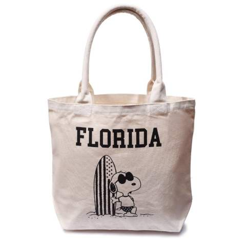 PEANUTS×TMT PIPE HANDLE CANVAS TOTEBAG (FLORIDA) (IVORY) / スヌーピー コラボトートバッグ