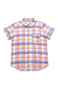 LINEN MADRAS CHECK S/SL SHIRTS (ORANGE)
