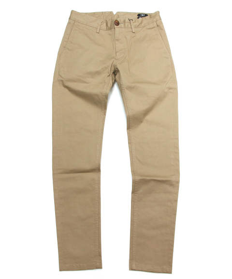 HIGH COUNT-STRETCH CHINO ONE WASH (BEIGE) / ストレッチスリムチノパンツ (ワンウォッシュ)