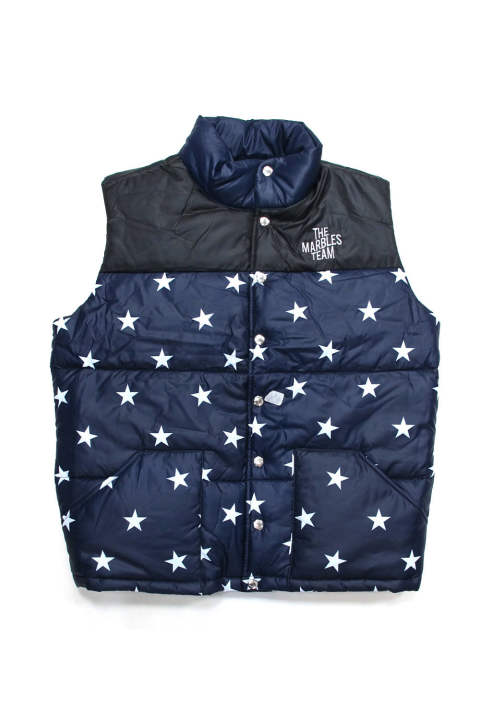 STARS PUFFY VEST (NAVY) / チームロゴプリント MA-1