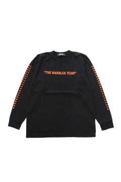 L/S HEAVY TEE #THE MARBLES TEAM (BLACK) / ヘビーボディー 袖プリントロンT
