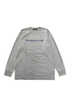 L/S HEAVY TEE #THE MARBLES TEAM (TOP GRAY) / ヘビーボディー 袖プリントロンT