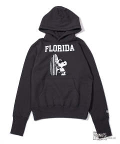 PEANUTS×TMT VINTAGE FRENCH TERRY HOODIE (FLORIDA) (CHARCOAL) / スヌーピー コラボ スウェットパーカー (フロリダ)