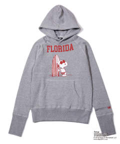 PEANUTS×TMT VINTAGE FRENCH TERRY HOODIE (FLORIDA) (TOP GRAY) / スヌーピー コラボ スウェットパーカー (フロリダ)