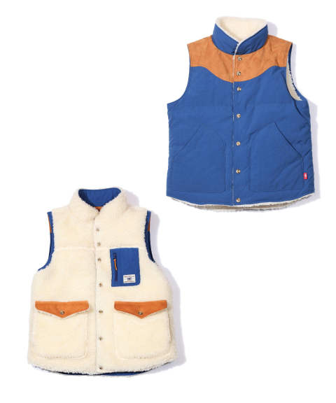 ONIBEGIE DYED NYLON REVERSIBLE DOWN VEST (BLUE) / リバーシブルダウンベスト