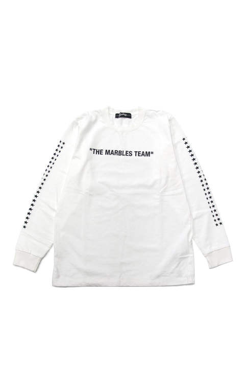 L/S HEAVY TEE #THE MARBLES TEAM (WHITE) / ヘビーボディー 袖プリントロンT