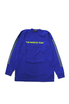 L/S HEAVY TEE #THE MARBLES TEAM (BLUE) / ヘビーボディー 袖プリントロンT