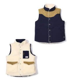 ONIBEGIE DYED NYLON REVERSIBLE DOWN VEST (NAVY) / リバーシブルダウンベスト
