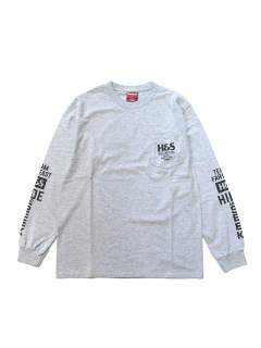 H&S POCKET L/S TEE (HEATHER GRAY) / 袖プリント ポケットロンT