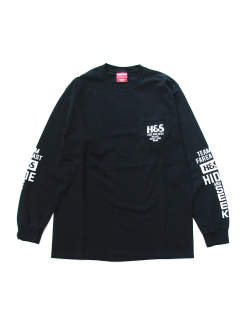 H&S POCKET L/S TEE (BLACK) / 袖プリント ポケットロンT
