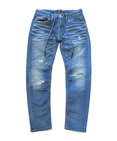 SWEATLIKE-RAINBOW REPAIR DENIM 5P CROPPED TAPERED (INDIGO) / スウェットデニムクロップドパンツ