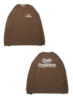 PRINT L/S TEE (LETTERED LOGO) (BROWN) / ビッグロンT (レタードロゴ)