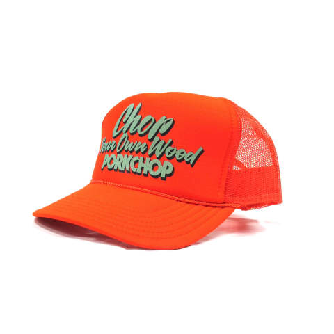 CHOP YOUR OWN WOOD CAP (ORANGE) / プリントメッシュキャップ