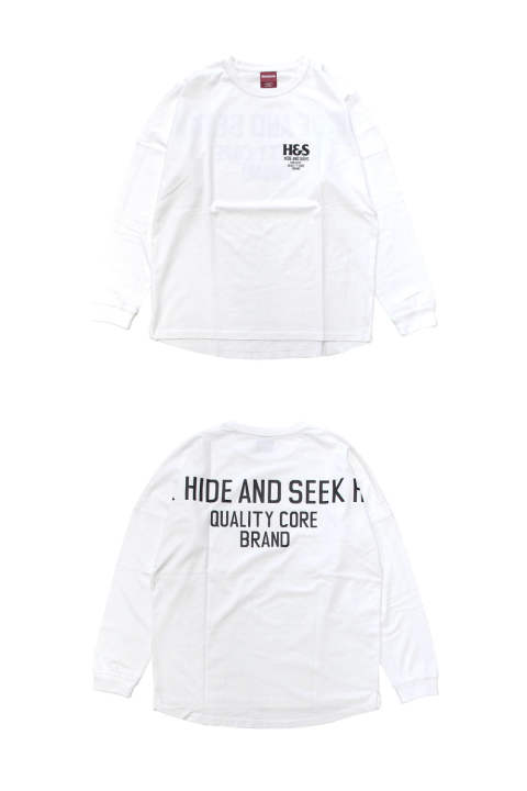 FOR H.S. DROP SHOULDER L/S TEE (WHITE) / 定番ロゴ バックプリントビッグロンT