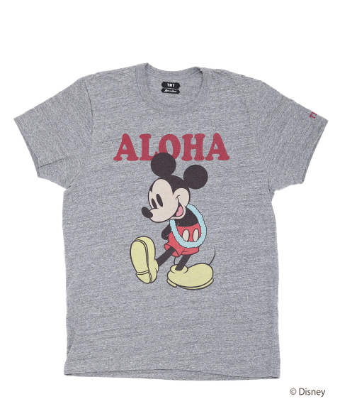 S/SL RAFI JERSEY(ALOHA/MICKEY) (TOP GRAY) / ミッキーマウス コラボT