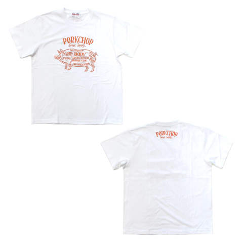 PORK FRONT S/S TEE (WHITE) / ポークフロントロゴT